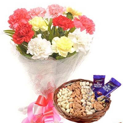 12 Mix Color Carnations with Half KG Mix Dry Fruit & 2 Dairy Milk Chocolates
